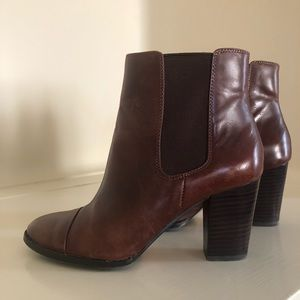 Saks Fifth Avenue Brown Leather Booties